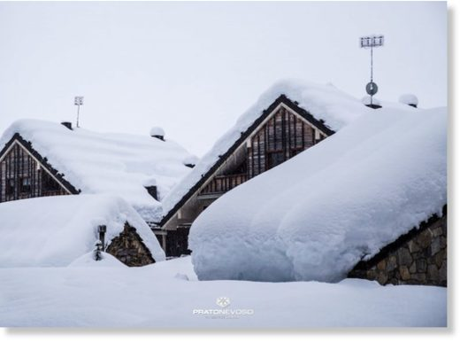 Prato Nevoso in the Italian alps on Tuesday after 24 hours of consistent snow.
