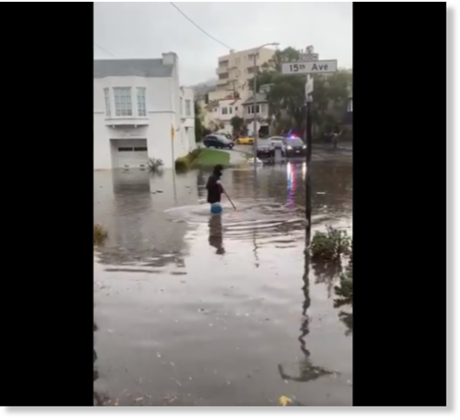 Flooding at 15th Avenue and Wawona Street in San Francisco.