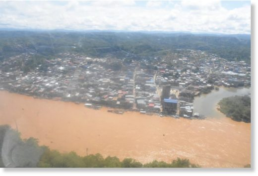 Flooding along the Telembí River in the municipality of Barbacoas, Nariño Department.