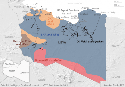 Libya map oil civil war