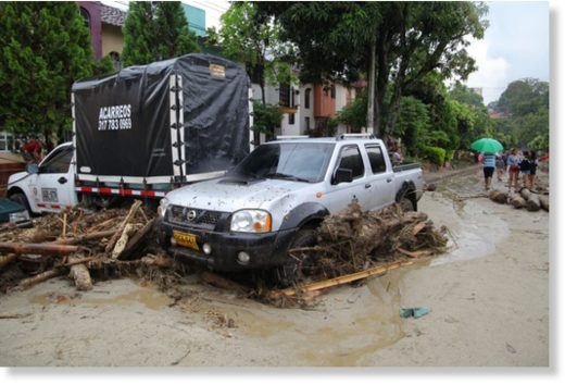 Flood damage in Floridablanca, Santander,