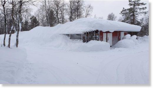 The village of Poka in Finnish Lapland has over 120cm of snow cover.