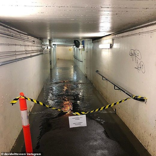 Flooding at Burnley Station, Melbourne