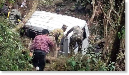 The SUV after being hit by the landslide in East Sikkim on Tuesday