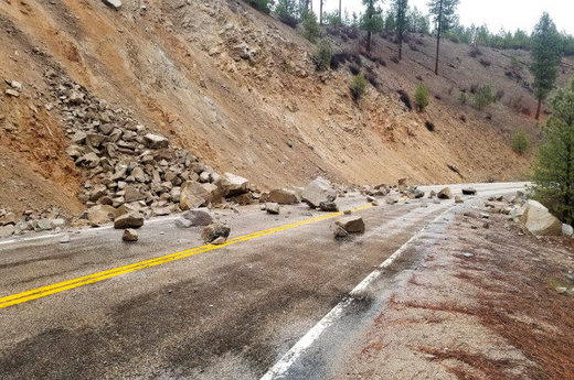 The earthquake caused a rockslide on Highway 21 near Lowman, Idaho