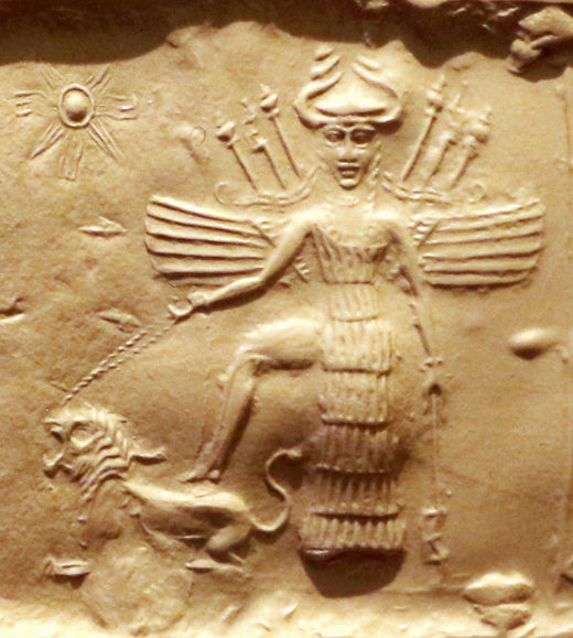 Innana on an Akkadian seal. She is equipped with 7 spears, a horned helmet and a 7 segments dress
