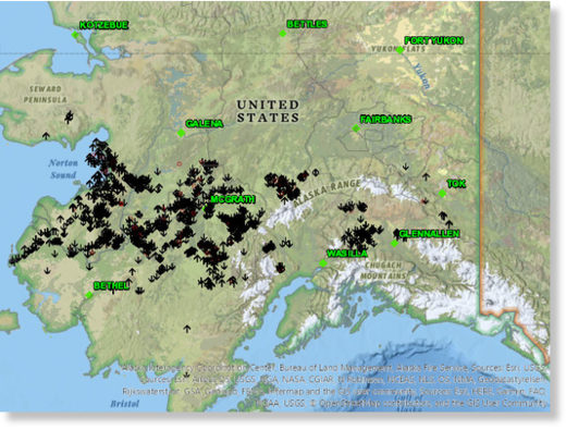 Map of the more than 1,800 lightning strikes throughout Alaska on May 30, 2020.