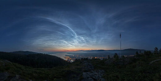 Noctilucent clouds over Bergen, Norway on June 17, 2020