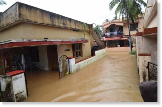 Houses inundated by floodwater in Jeppu Kutpadi