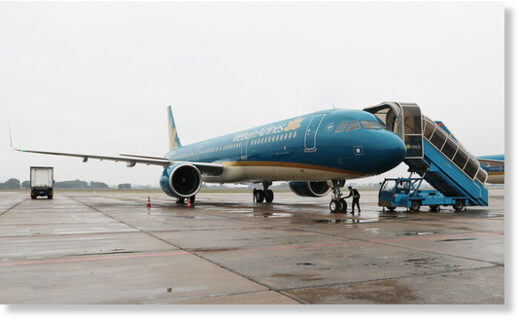 A Vietnam Airlines aircraft at Noi Bai International Airport in Hanoi, February 4, 2020