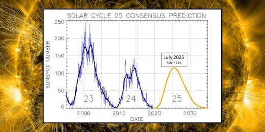 Chart of the two most recent solar cycles, plus a consensus prediction for cycle 25.