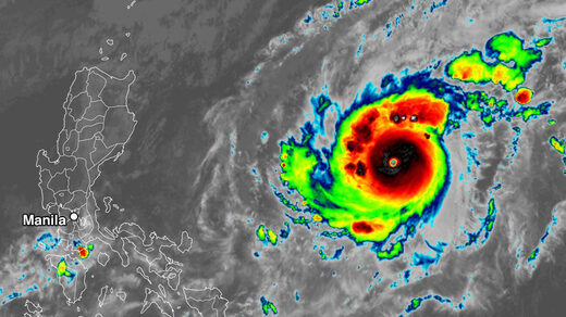 Infrared satellite image of Super Typhoon Goni