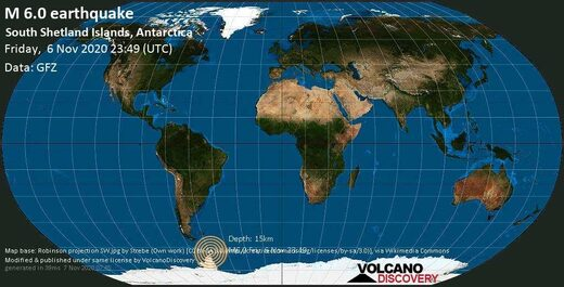Antarctica earthquake map