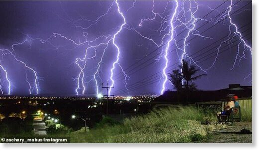 More than 8,000 properties across SA remain without power after storms lashed the state, with 300,000 lightning strikes reported (pictured, the storms on Tuesday over Adelaide)