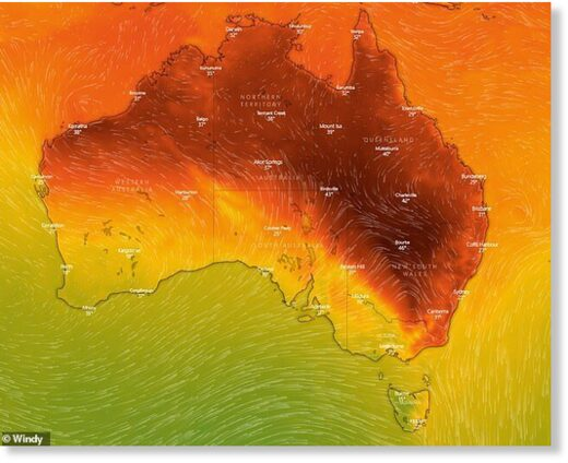 Some parts of central NSW, Queensland and SA peaked at 18C above average on Tuesday