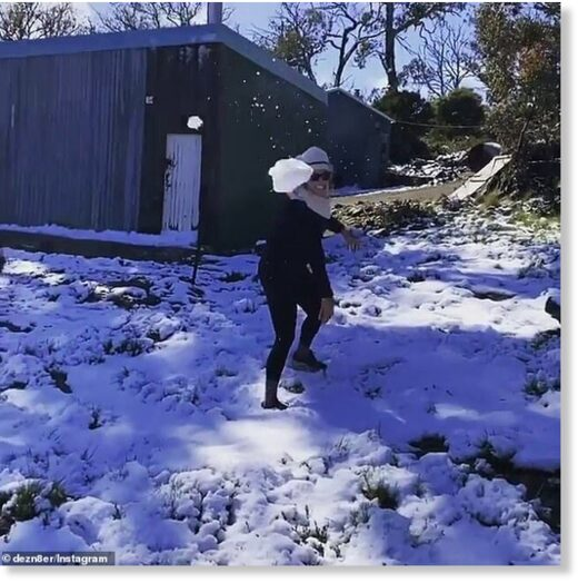 Residents in Tasmania woke up to snow (pictured) while the rest of the country sweltered through a heatwave