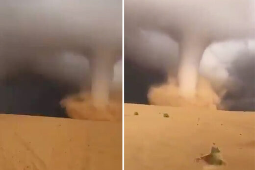 A combo image shows a tornado moving through the desert in Sakaka, Saudi Arabia.
