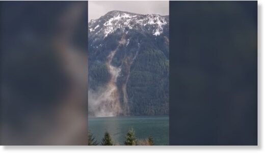 A still photo from a video recorded on Jan. 13, 2021 of a landslide on the east side of Harrison Lake, B.C.