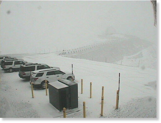 This webcam photo by W.M. Keck Observatory shows a dusting of snow in the observatory parking lot on Maunakea.