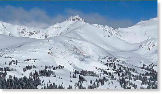 This image provided by Colorado Avalanche Information Center shows an avalanche that killed an unidentified snowboarder on Sunday, Feb. 14, 2021, near the town of Winter Park in Colorado.