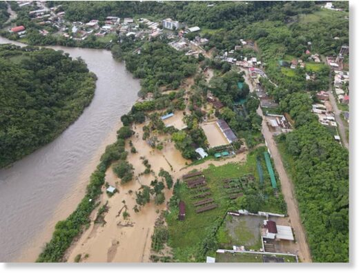 Flood and mudslide debris in La Convencion,