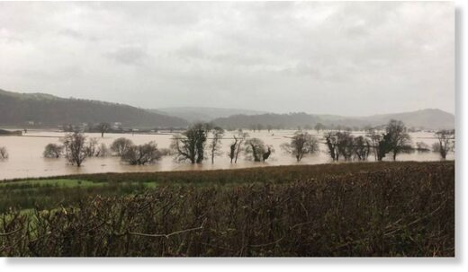 Parts of the Tywi Valley, near Capel Dewi in Carmarthenshire, were flooded