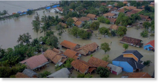 Floods in Karawang, West Java, Indonesia
