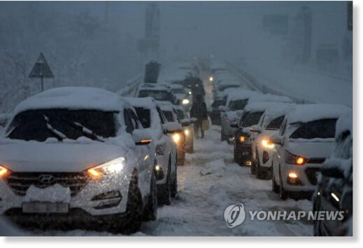 Cars are trapped on Donghae Expressway in the east coast on March 1, 2021,