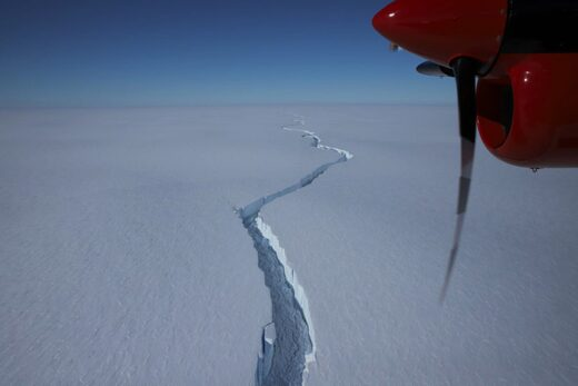 The iceberg started to crack off of Antarctica's Brunt Ice Shelf