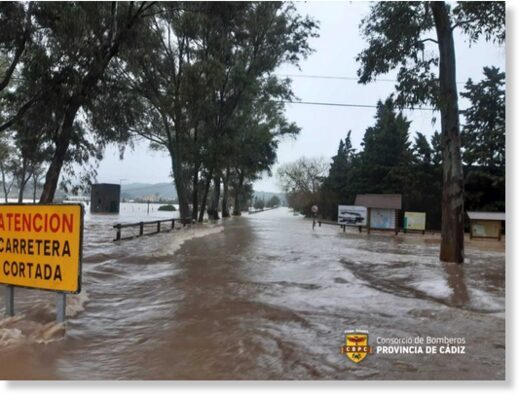 Floods in Cadiz Province, Spain, March 2021.