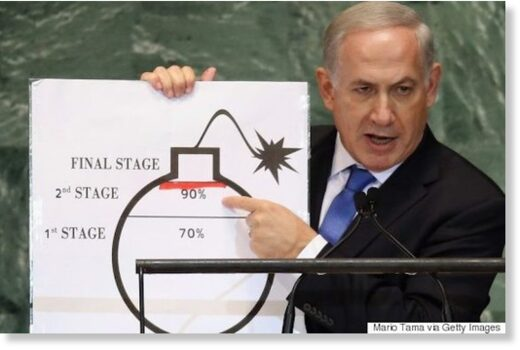 Netanyahu points to a drawing of a bomb