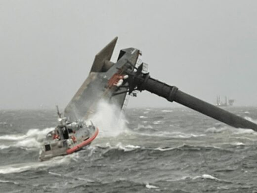 A photo from the US Coast Guard showing a capsized vessel off Louisiana