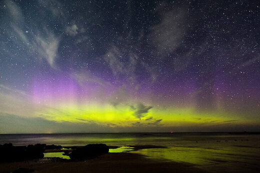Aurora Borealis on April 18, 2021 @ Hopeman, Moray, Scotland