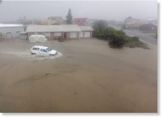 Floods in Cape Agulhas, South Africa, May 2021.
