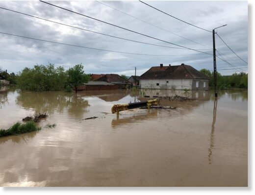 Flooding in Satu-Mare County, northern Romani