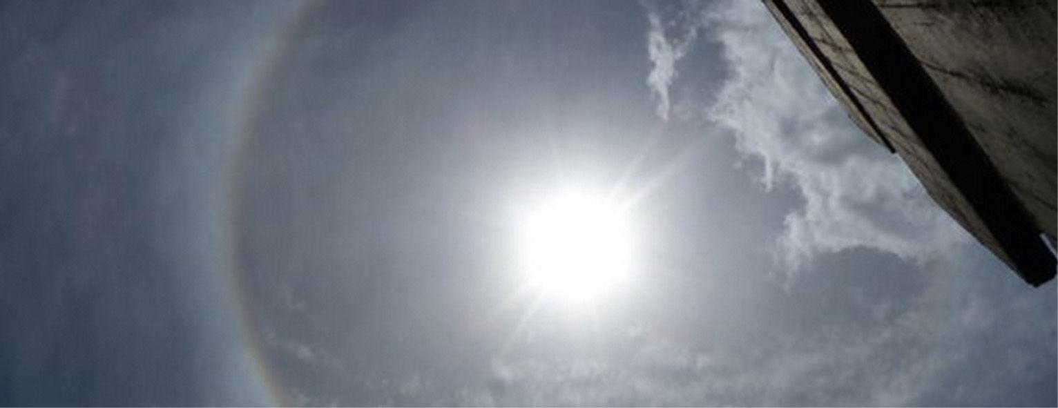 Aureolas Gigantes el sol, decorado con una extraña aureola -- cambios
